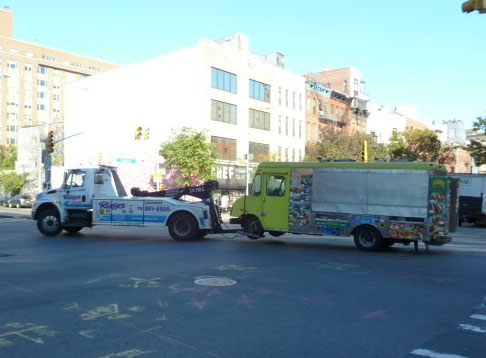 food truck being towed