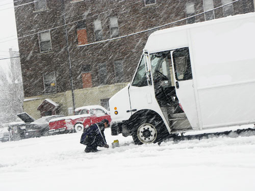 food truck in snow