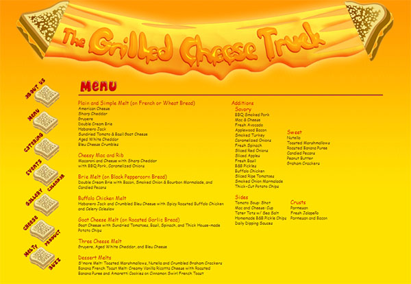 Food Truck Website Menu