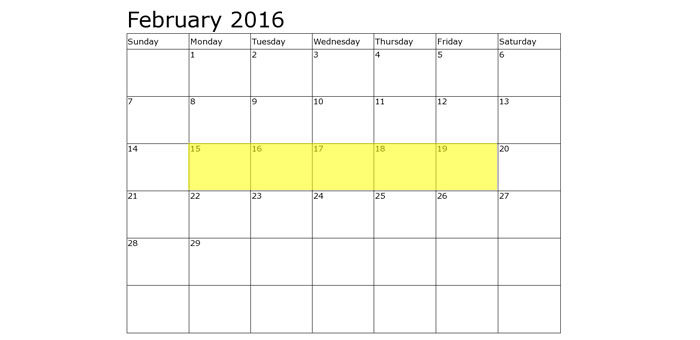 Upcoming Food Holidays | February 15-19, 2016