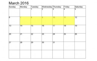 March 7-11 2016 Food Holidays