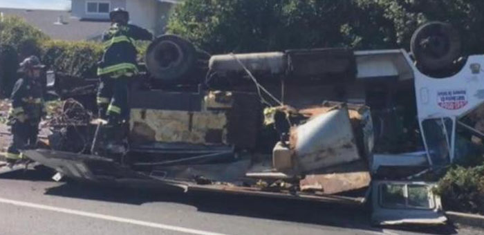 Fremont california food truck flips in accident for Accident domestique cuisine
