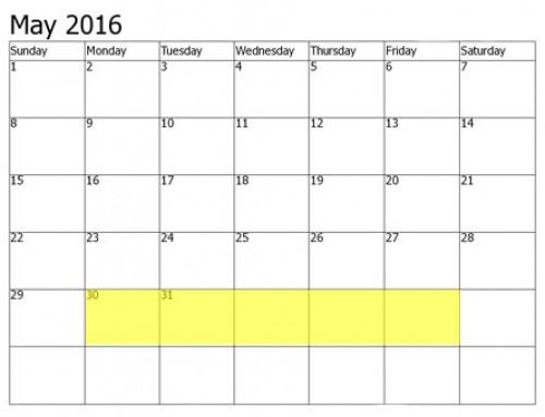 Upcoming Food Holidays   May 30 – June 3, 2016