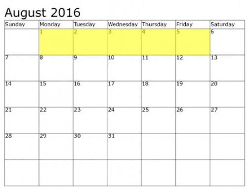 Upcoming Food Holidays | August 1 – 5, 2016