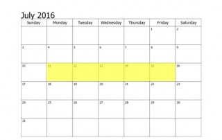July 11-15 2016 Food Holidays