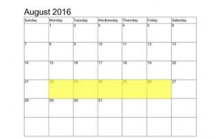August 22-26 Food Holidays