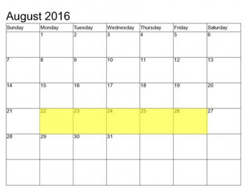 Upcoming Food Holidays | August 22 – 26, 2016