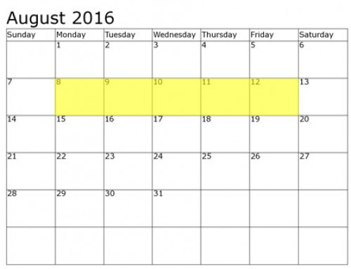 Upcoming Food Holidays | August 8 – 12, 2016