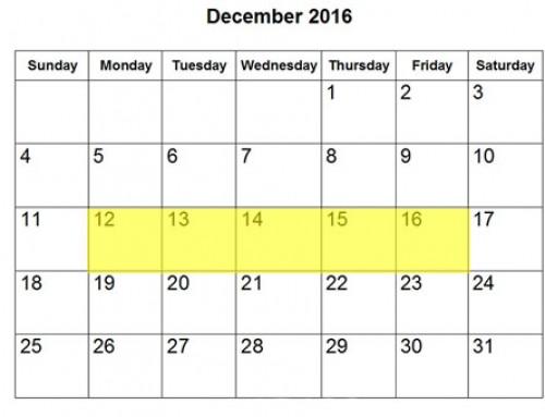 Upcoming Food Holidays | December 12-16, 2016