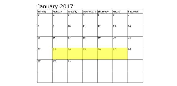 Jan 23-27 2017 Food Holidays