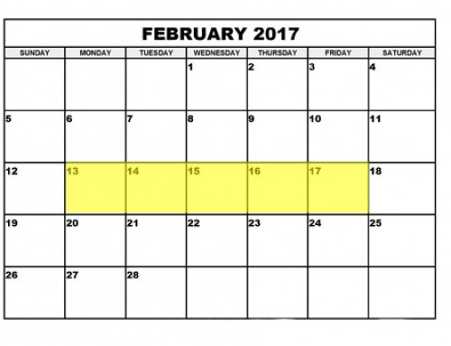 Upcoming Food Holidays | February 13 – 17, 2017