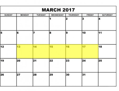 Upcoming Food Holidays | March 13 – 17, 2017