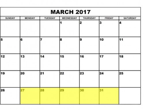 Upcoming Food Holidays | March 27 – 31, 2017