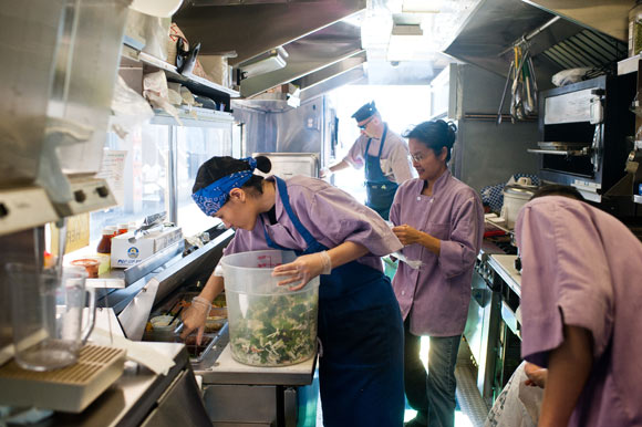 cooking inside food truck