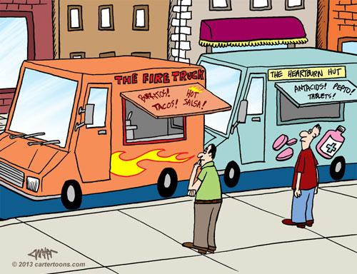 Food Trucks Work Well Together Cartoon