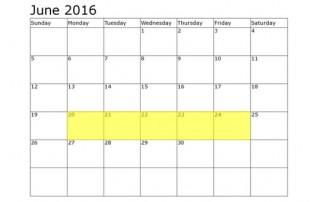 June 20-24 Food Holidays