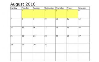 August 1-5 Food Holidays