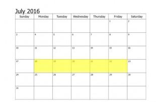 July 18-22 2016 Food Holidays