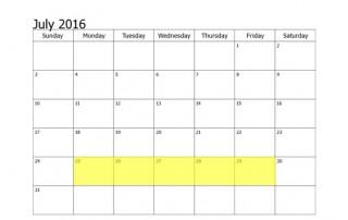 July 25-29 2016 Food Holidays