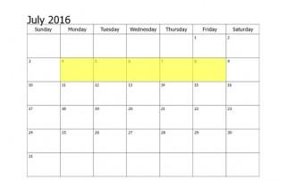 July 4-8 2016 Food Holidays