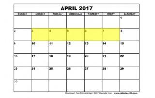April 3-7 2017 Food Holidays