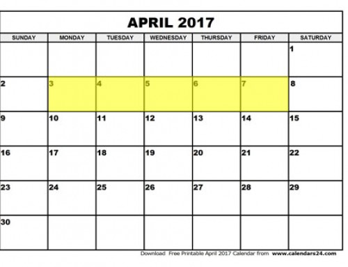 Upcoming Food Holidays | April 3 – 7, 2017