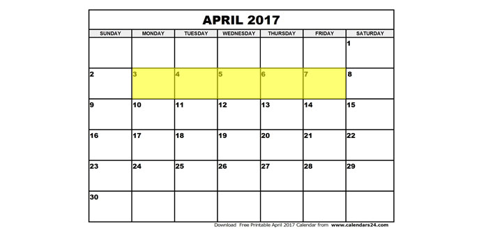 April 3-7 2017 Food Holidays