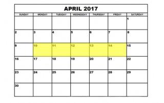 April 10-14 2017 Food Holidays