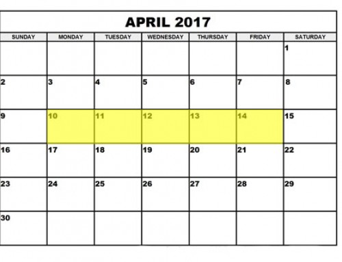 Upcoming Food Holidays | April 10 – 14, 2017