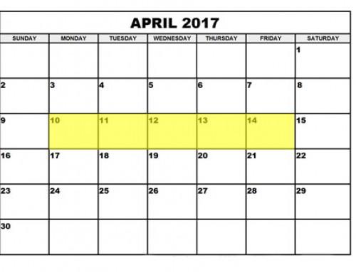 Upcoming Food Holidays | April 10 – 14, 2017