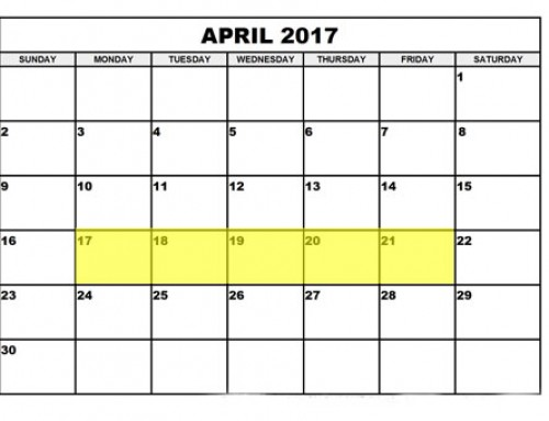 Upcoming Food Holidays: April 17 – 14, 2017