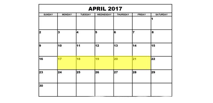 April 17-21 2017 Food Holidays