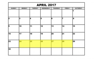 April 24-28 2017 Food Holidays