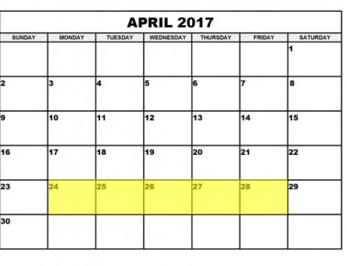Upcoming Food Holidays: April 24 – 28, 2017