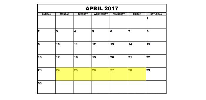 April 24-28 2017 Food Holidays