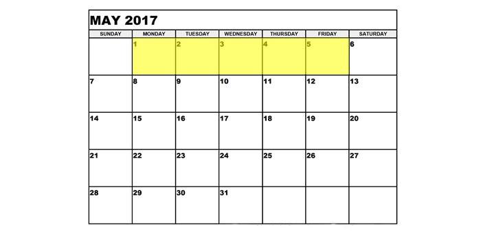 May 1-5 2017 upcoming food holidays
