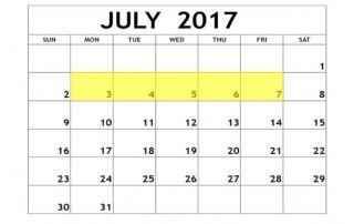 July 3-7 2017 Food Holidays