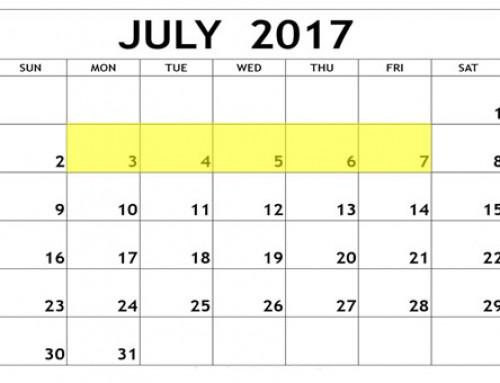 Upcoming Food Holidays: July 3– 7, 2017