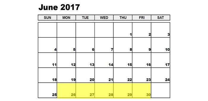 Jun 26-30 2017 Food Holidays