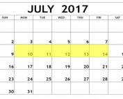 July 10-14 2017 Food Holidays