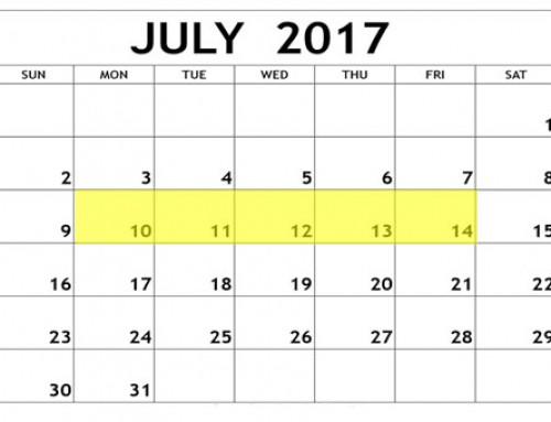 Upcoming Food Holidays: July 10 – 14, 2017
