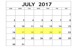 July 17-21 2017 Food Holidays