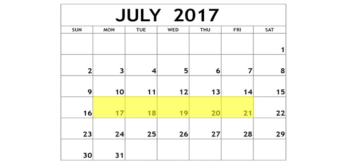 July 17-21 2017 Food Holidays