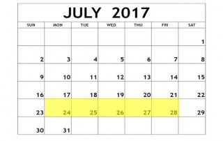July 24-28 2017 Food Holidays