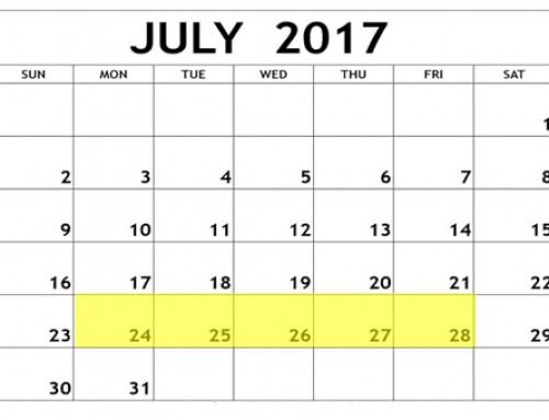 Upcoming Food Holidays: July 24 – 28, 2017
