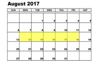 August 14-18 2017 Food Holidays