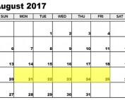 August 21-25 2017 Food Holidays