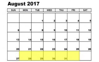 August 28-1 2017 Food Holidays