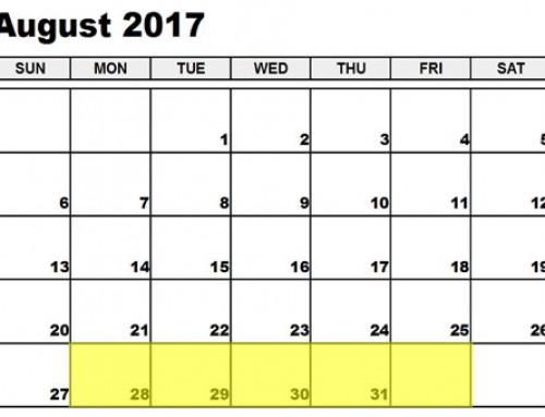 Upcoming Food Holidays: Aug 28-Sep 1, 2017