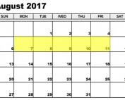 August 7-11 2017 Food Holidays
